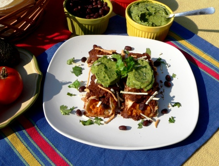 Sweet Potato And Tofu Enchiladas With Mole Sauce Recipe — Dishmaps